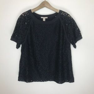 banana republic black lace shirt blouse NWT